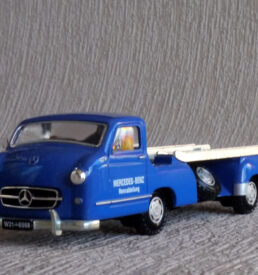 Blue german Mercedes-Benz car transporter