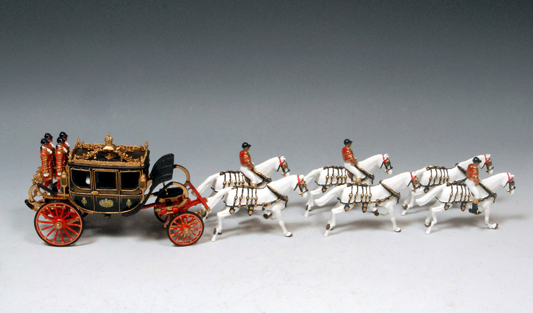 Royal coach and horses die-cast metal
