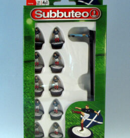 Subbuteo Football Team PLG3105 Scotland in navy blue shirts, white shorts and red socks.